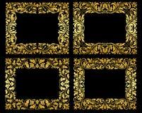 在黑背景的金黄花卉框架 免版税库存照片