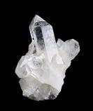在黑背景的水晶群高大小 库存图片