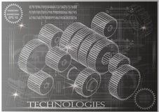 在黑背景的建造机器的图画,轮子 图库摄影