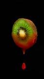 在黑背景茶点,部分,番茄酱蕃茄的猕猴桃 免版税库存照片