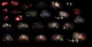 在黑背景设置的新年烟花 免版税库存图片