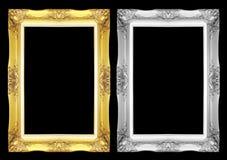 在黑背景隔绝的古色古香的灰色和金框架 免版税库存照片