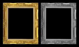 在黑背景隔绝的古色古香的金黄和灰色框架,裁减路线 库存图片