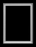 在黑背景隔绝的古色古香的银色框架 免版税库存照片