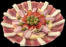 在黑背景隔绝的开胃菜美味盘 免版税库存图片