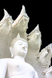 在黑背景隔绝的白色菩萨雕象 免版税库存图片