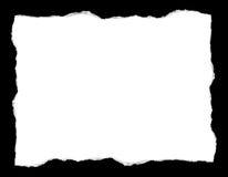 在黑背景隔绝的白色被撕毁的纸 库存图片
