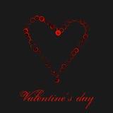 在黑背景隔绝的水彩红色心脏 假日情人节贺卡 手绘画例证 库存照片