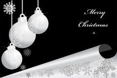 在黑背景2的圣诞节球 图库摄影