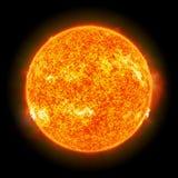 在黑背景3d翻译的太阳 免版税库存照片