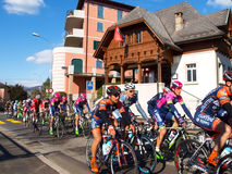 在2015年自行车赛卢加诺格兰披治  库存照片