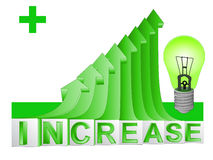 在绿色上升的箭头图表vect的绿色能量电灯泡 免版税图库摄影
