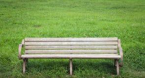 在绿色公园的木长凳在夏天 库存照片