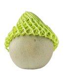 在绿色净泡沫保护的甜日本瓜在白色backg 免版税库存照片
