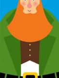 在绿色双排扣长礼服的好妖精 大红色胡子 快乐 库存图片