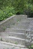 在绿色叶子中的砖台阶在公园,马斯特里赫特2 库存照片