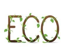 在绿色叶子和分支的Eco信件 免版税库存照片