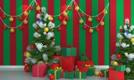 在绿色和红色墙壁背景的圣诞树 库存照片