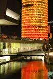 在黄色和红色照亮的Agbar塔 库存照片