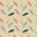 在黄色和蓝色口气的羽毛样式 免版税库存图片