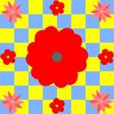 在黄色和蓝色正方形的不同的红色花 免版税库存图片