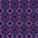 在紫色和蓝色的被编织的无缝的样式 免版税库存照片