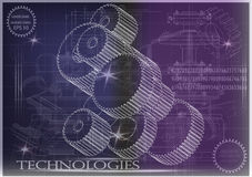 在紫色和蓝色背景的建造机器的图画 免版税图库摄影