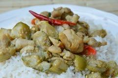 在绿色咖喱的混乱油煎的鸡用在米的茄子 库存图片