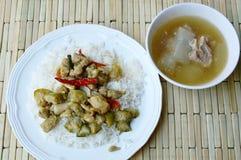 在绿色咖喱的混乱油煎的鸡用茄子和冬瓜汤 免版税库存图片