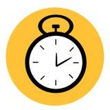 在黄色圆的背景里面的黑白秒表时钟 免版税库存照片