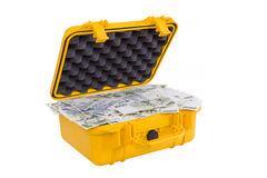 在黄色塑料盒的捷克金钱 免版税图库摄影