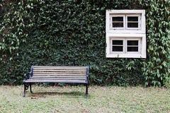 在绿色墙壁上的木窗口 免版税库存照片
