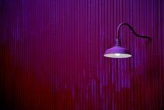 在紫色墙壁上的紫色灯笼 库存照片