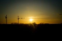 在黄色太阳的日落的两台起重机 免版税库存图片