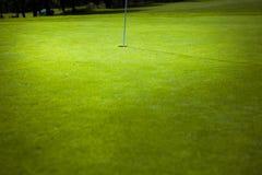 在绿色孔的高尔夫球旗子 免版税库存照片