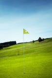 在绿色孔的高尔夫球旗子 免版税库存图片