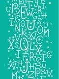 在绿色字母表的白色在垂直的无缝的样式背景上写字 库存照片