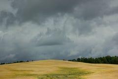 在黄色小山的暴风云 库存图片