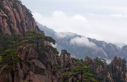 在黄色山的有薄雾的早晨,中国 免版税库存照片