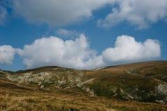 在绿色平原的大峭壁在日落 免版税图库摄影