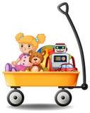 在黄色无盖货车的玩具 库存照片