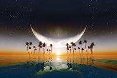 在黄色日落的大月亮 免版税库存图片