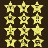 在黄色星的黄道带 库存照片