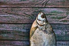 在紫色木背景的各式各样的鱼 库存照片