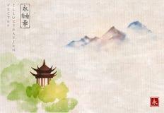 在绿色林木和远的蓝色山的塔寺庙在宣纸背景的葡萄酒 传统东方墨水 免版税库存图片