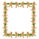 在绿色框架姜饼人 免版税库存图片
