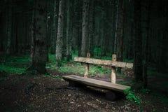 在绿色森林附近的单独老长木凳 库存照片