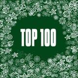 在绿色横幅的名列前茅100与花 图库摄影
