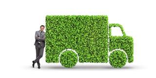 在绿色环境概念的电车概念 免版税库存图片