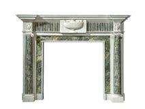 在绿色白大理石古色古香的胜者的惊人的壁炉周围 免版税库存照片